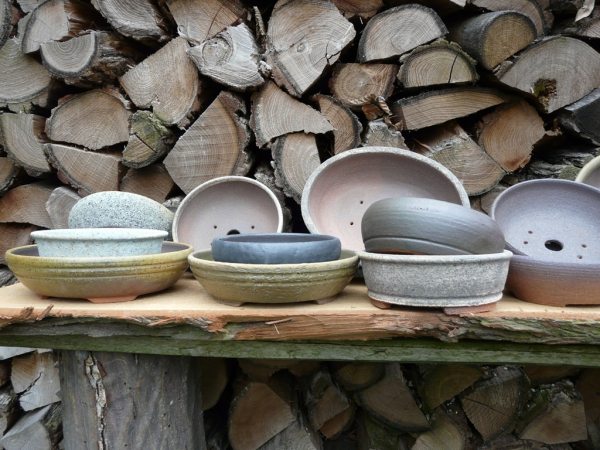 bonsai pots from wood fired kiln